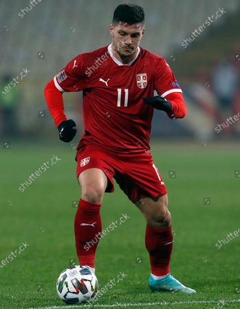 Stock Photo of Serbia's Luka Jovic controls the ball during the UEFA Nations League soccer match between Serbia and Russia at the Rajko Mitic Stadium, in Belgrade, Serbia