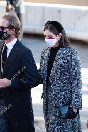Andrea Casiraghi and Tatiana Santo Domingo arrive at the cathedral of Monaco