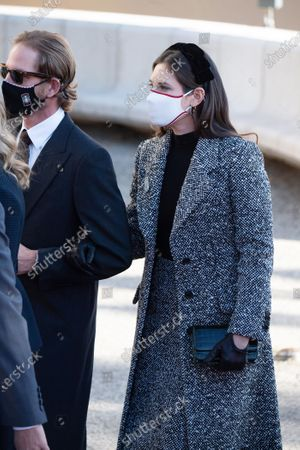 Andrea Casiraghi and Tatiana Santo Domingo arrive at the cathedral of Monaco,on November 19, 2020 in Monte-Carlo, Monaco.