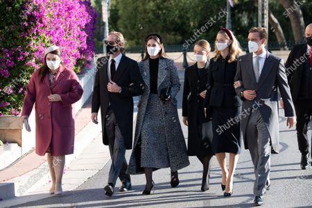 Melanie-Antoinette de Massy, Andrea Casiraghi, Tatiana Santo Domingo, Princess Alexandra of Hanover, Beatrice Borromeo-Casiraghi, Pierre Casiraghi arrive at the cathedral of Monaco