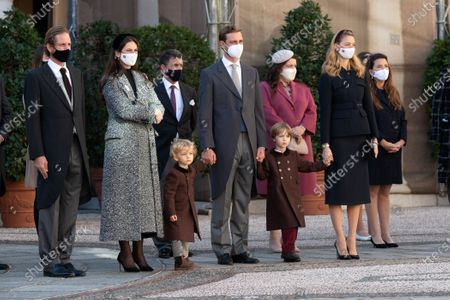 Stock Picture of Andrea Casiraghi, Tatiana Santo Domingo, Pierre Casiraghi with his wife Beatrice Borromeo-Casiraghi and their children Stefano Casiraghi and Alexandre Casiraghi attend a medal ceremony at the Monaco Palace