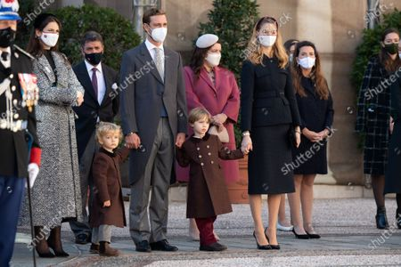 Stock Photo of Tatiana Santo Domingo, Pierre Casiraghi with his wife Beatrice Borromeo-Casiraghi and their children Stefano Casiraghi and Alexandre Casiraghi attend a medal ceremony at the Monaco Palace