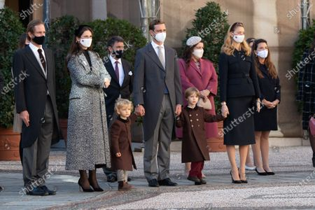 Stock Image of Andrea Casiraghi, Tatiana Santo Domingo, Pierre Casiraghi with his wife Beatrice Borromeo-Casiraghi and their children Stefano Casiraghi and Alexandre Casiraghi attend a medal ceremony at the Monaco Palace