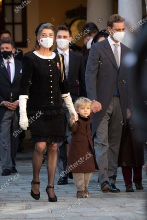 Princess Caroline of Hanover, Pierre Casiraghi with his children Stefano Casiraghi and Alexandre Casiraghi attend a medal ceremony at the Monaco Palace
