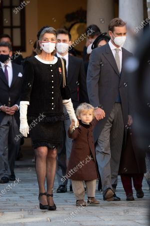 Princess Caroline of Hanover, Pierre Casiraghi with his children Stefano Casiraghi and Alexandre Casiraghi attend a medal ceremony at the Monaco Palaceon November 19, 2020 in Monte-Carlo, Monaco.