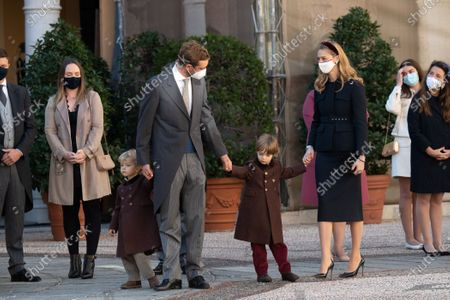 Pierre Casiraghi with his wife Beatrice Borromeo-Casiraghi and their children Stefano Casiraghi and Alexandre Casiraghi attend a medal ceremony at the Monaco Palace