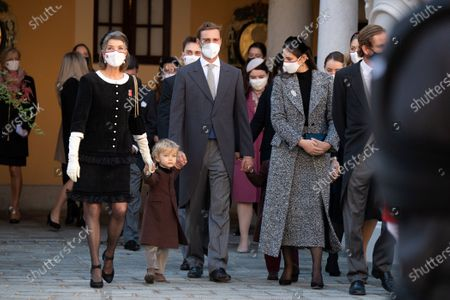 Princess Caroline of Hanover, Pierre Casiraghi with his children Stefano Casiraghi, Alexandre Casiraghi, Tatiana Santo Domingo and Andrea Casiraghi attend a medal ceremony at the Monaco Palace