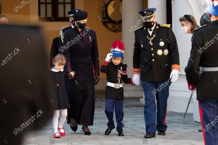 Prince Albert II of Monaco, Princess Charlene of Monaco, Crown Prince Jacques of Monaco and Princess Gabriella of Monaco attend a medal ceremony at the Monaco Palace