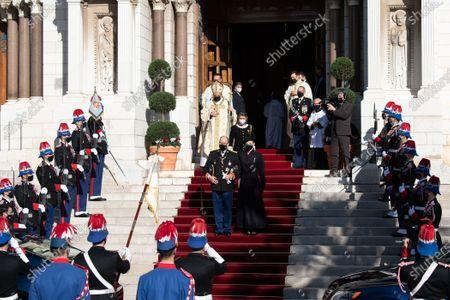 Prince Albert II of Monaco and Princess Charlene of Monaco leaving the cathedral of Monaco