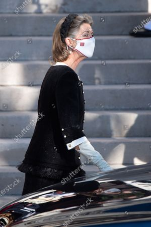 Princess Caroline of Hanover leaving the cathedral of Monaco