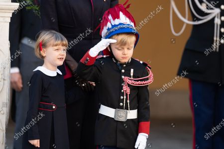 Crown Prince Jacques of Monaco and Princess Gabriella of Monaco attend a medal ceremony at the Monaco Palace