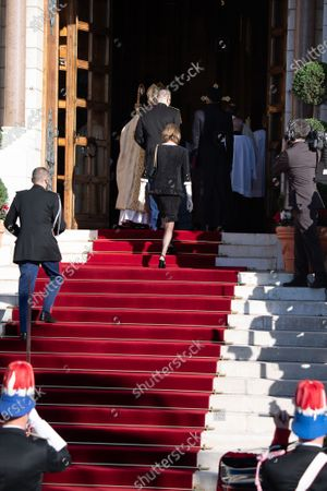 Prince Albert II of Monaco, Princess Charlene of Monaco and Princess Caroline of Hanover arrive at the cathedral of Monaco