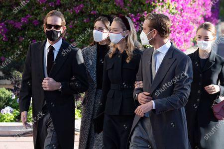 Andrea Casiraghi, Tatiana Santo Domingo, Princess Alexandra of Hanover, Beatrice Borromeo-Casiraghi, Pierre Casiraghi arrive at the cathedral of Monaco