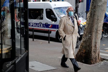 Stock Image of British Chris Norman arrives for an interview with the Associated Press, in front of the Paris courthouse, during the Thalys attack trial, . The lawyer for an American who was scheduled to testify about his role in the dramatic capture of an Islamic State operative aboard a high-speed train says his witness has been hospitalized after he flew in to Paris