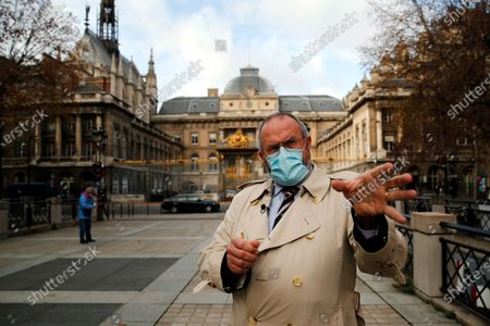 Stock Picture of British Chris Norman gestures during an interview with the Associated Press, in front of the Paris courthouse, during the Thalys attack trial, . The lawyer for an American who was scheduled to testify about his role in the dramatic capture of an Islamic State operative aboard a high-speed train says his witness has been hospitalized after he flew in to Paris