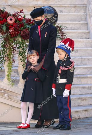 Princess Charlene of Monaco (C), Princess Gabriella of Monaco (L) and Prince Jacques of Monaco attend the celebrations marking Monaco's National Day at the Palace, in Monaco, 19 November 2020. The National Day of Monaco is also known as The Sovereign Prince's Day.