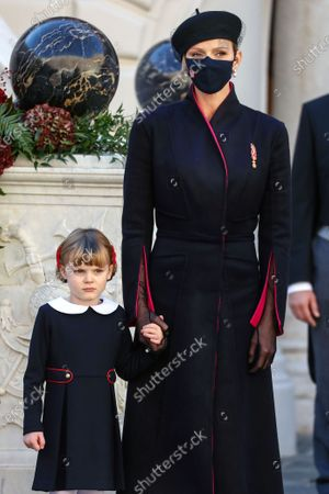 Princess Charlene of Monaco (R) and Princess Gabriella of Monaco attend the celebrations marking Monaco's National Day at the Palace, in Monaco, 19 November 2020. The National Day of Monaco is also known as The Sovereign Prince's Day.