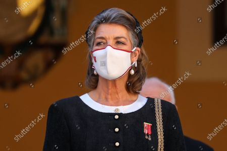 Stock Photo of Monaco's Caroline, Princess of Hanover attends the celebrations marking Monaco's National Day at the Palace, in Monaco, 19 November 2020. The National Day of Monaco is also known as The Sovereign Prince's Day.