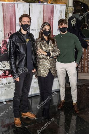 Manuel Velasco, actress Elena Furiase and actor Felix Gomez pose during the presentation of the film 'Vampus Horror Tales' at the Wax Museum in Madrid, Spain, 19 November 2020.