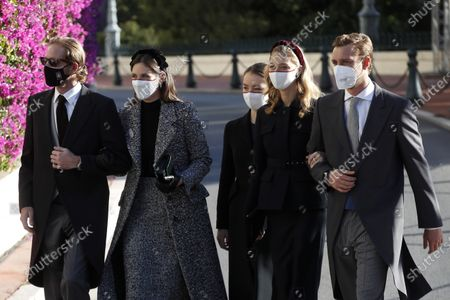 (L-R) Andrea Casiraghi, his wife Tatiana,  Princess Charlotte of Hanover, Beatrice Borromeo and Pierre Casiraghi attend the celebrations marking Monaco's National Day at the Monaco Palace, in Monaco, 19 November 2020. The National Day of Monaco is also known as The Sovereign Prince's Day.