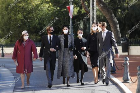 Stock Picture of (L-R) Melanie-Antoinette de Massy, Andrea Casiraghi with his wife Tatiana, Princess Charlotte of Hanover, Beatrice Borromeo and Pierre Casiraghi attend the celebrations marking Monaco's National Day at the Monaco Palace, in Monaco, 19 November 2020. The National Day of Monaco is also known as The Sovereign Prince's Day.
