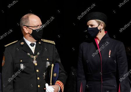 Prince Albert of Monaco (L) and his wife Princess Charlene of Monaco (R) leave the Cathedral of Monaco after attending the celebrations marking National Day at the Monaco Palace, in Monaco, 19 November 2020. The National Day of Monaco is also known as The Sovereign Prince's Day.  *** Local Caption *** 55643684