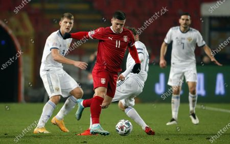 Luka Jovic during the UEFA Nations League Group B3 football match between Serbia and Russia at the Rajko Mitic Stadium in Belgrade. Serbia won 5-0