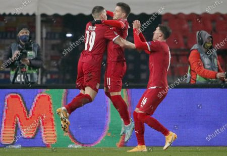 Stock Image of Mihailo Ristic i Luka Jovic during the UEFA Nations League Group B3 football match between Serbia and Russia at the Rajko Mitic Stadium in Belgrade. Serbia won 5-0