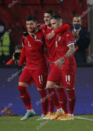 Stock Picture of Dusan Vlahovic Mihailo Ristic i Luka Jovic during the UEFA Nations League Group B3 football match between Serbia and Russia at the Rajko Mitic Stadium in Belgrade. Serbia won 5-0