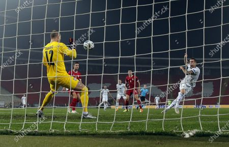 Serbia's goalkeeper Predrag Rajkovic during the UEFA Nations League Group B3 football match