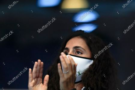Stock Photo of Xisca Perello, wife of Spain's Rafael Nadal watches him play Stefanos Tsitsipas of Greece at the ATP World Finals tennis tournament at the O2 arena in London