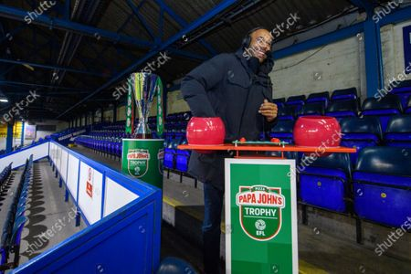 Stock Picture of Matt Murray draws the balls during the Papa Johns Trophy draw for the round of 32 fixtures.