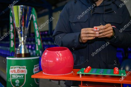 Stock Photo of Matt Murray draws the balls during the Papa Johns Trophy draw for the round of 32 fixtures.