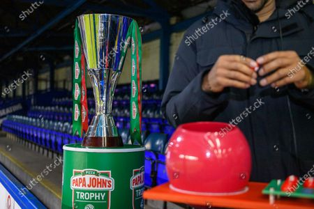 Stock Image of The Papa John Trophy as Matt Murray draws the balls for the round of 32 fixtures.