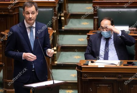 Stock Picture of Prime Minister Alexander De Croo and PS' Ahmed Laaouej pictured during a plenary session of the Chamber at the Federal Parliament in Brussels, Thursday 19 November 2020.