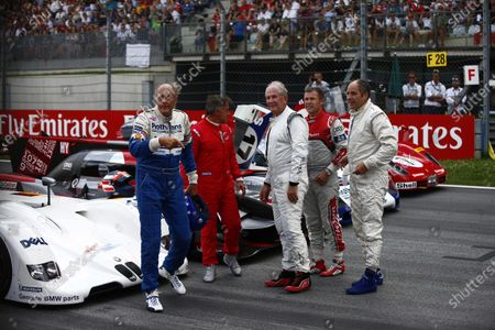 Red Bull Ring, Spielberg, Austria. Sunday 9 July 2017. Hans-Joachim Stuck, Jean Alesi, Helmut Markko, Consultant, Red Bull Racing, Tom Kristensen and Gerhard Berger on the grid for the Legends Parade. Photo: Andrew Hone/McLaren