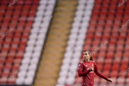 Tobin Heath of Manchester United Women is seen against empty seats