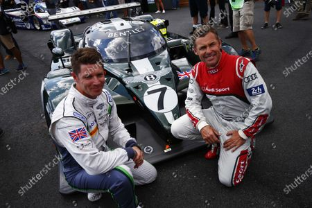 Red Bull Ring, Spielberg, Austria. Saturday 08 July 2017. Guy Smith and Tom Kristensen pose with the Bentley Speed 8 LMP1 that they shared to victory at Le Mans in 2003. World Copyright: Andy Hone/LAT Images