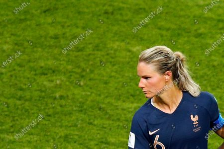 Dated, France's Amandine Henry, reacts at the end of the Women's World Cup quarterfinal soccer match against United States, at the Parc des Princes, in Paris. France midfielder Amandine Henry is being recalled to become national team captain, Thursday Nov. 19, 2020, despite having made critical remarks about coach Corinne Diacre in a recent interview