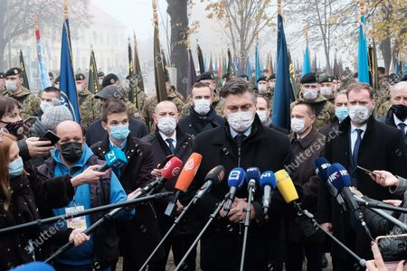Celebrating the Day of Remembrance for the Victims of the Homeland War and the Day of Remembrance for the Victims of Vukovar and Skabrnja. In the photo: State leadership in front of the National Memorial Hospital, press statement by Andrej Plenkovic.