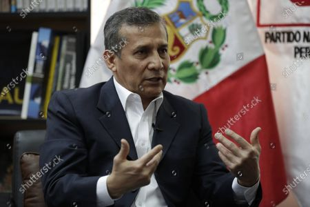 Stock Picture of The former president of Peru, Ollanta Humala, speaks during an interview with Efe on 18 November 2020, in Lima, Peru . Former Peruvian President Ollanta Humala (2011-2016) has no doubts that what happened in the last week in Peru was 'a coup d'etat' at the hands of a group of parties that tried to 'take over the executive power by storm'  by removing controversial way to former president Martin Vizcarra (2018-2020).