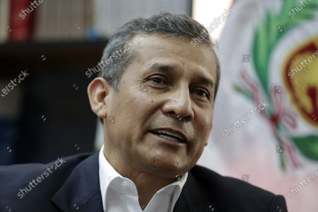 Stock Photo of The former president of Peru, Ollanta Humala, speaks during an interview with Efe on 18 November 2020, in Lima, Peru . Former Peruvian President Ollanta Humala (2011-2016) has no doubts that what happened in the last week in Peru was 'a coup d'etat' at the hands of a group of parties that tried to 'take over the executive power by storm'  by removing controversial way to former president Martin Vizcarra (2018-2020).