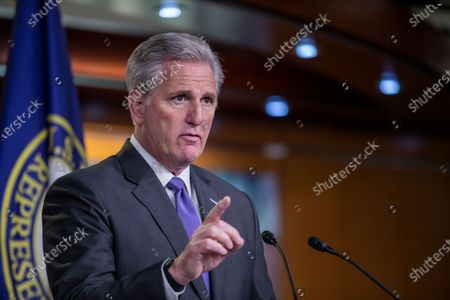House Minority Leader Kevin McCarthy responds to a question from the news media during a press conference in the US Capitol in Washington, DC, USA, 19 November 2020. Daily cases of COVID-19 hit record highs in the US over the last week as Congressional Republicans and Democrats have not come any closer to a relief package.
