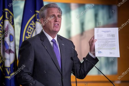 House Minority Leader Kevin McCarthy delivers remarks during a press conference in the US Capitol in Washington, DC, USA, 19 November 2020. Daily cases of COVID-19 hit record highs in the US over the last week as Congressional Republicans and Democrats have not come any closer to a relief package.
