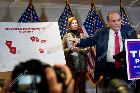 Former Mayor of New York Rudy Giuliani, a lawyer for President Donald Trump, speaks during a news conference at the Republican National Committee headquarters, in Washington