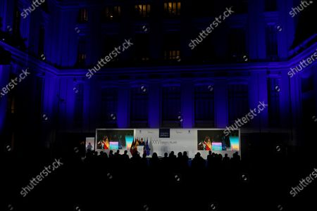 Spain's King Felipe VI delivers a speech during the 26th edition of Pelayo Awards for prestigious jurists ceremony at Cibeles Palace in Madrid, Spain, 19 November 2020.