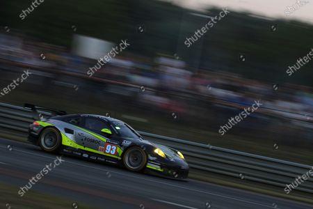 Stock Picture of 2017 Le Mans 24 Hours Circuit de la Sarthe, Le Mans, France. Sunday 18th  June 2017 #93 Proton Competition Porsche 911 RSR (991): Patrick Long, Abdulaziz Turki Al Faisal, Michael Hedlund  World Copyright: JEP/LAT Images