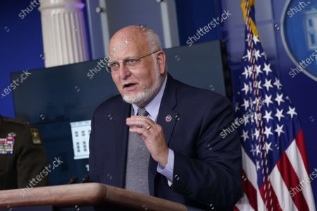 Stock Photo of Dr. Robert Redfield, Director of the Centers for Disease Control and Prevention participates in a briefing with members of the White House Coronavirus Task Force at the White House in Washington, DC,.