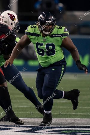 Seattle Seahawks offensive lineman Damien Lewis is picturd during the first half an NFL football game against the Arizona Cardinals, in Seattle. The Seahawks won 28-21