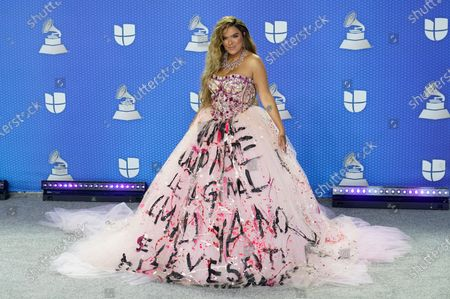 Karol G arrives at the 21st Latin Grammy Awards, airing, at American Airlines Arena in Miami